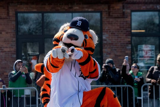 Detroit Tigers mascot Paws.