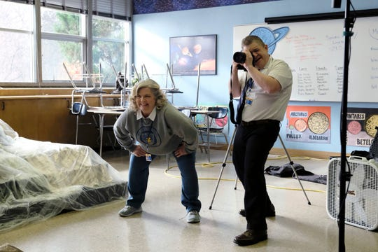 Paula Pell as Helen (with Patton Oswalt) in NBC's 'A.P. Bio.' --