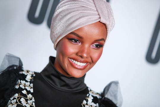 "Halima Aden attends House Of Uoma presents the launch of Uoma Beauty - The World's First ""Afropolitan"" Makeup Brand at NeueHouse Hollywood on April 25, 2019 in Los Angeles, California."