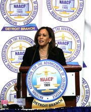 U.S. Sen. Kamala Harris addresses the 64th NAACP Fight for Freedom Fund dinner Sunday, May 5, 2019 at Cobo Conference Center in Detroit, Mich.