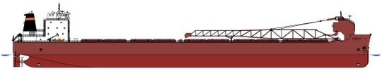 A rendering of a planned U.S.-flagged Great Lakes bulk carrier to be built by Fincantieri Bay Shipbuilding in Sturgeon Bay, Wisconsin in partnership with the Interlake Steamship Company. It is expected to be completed by mid-2022.