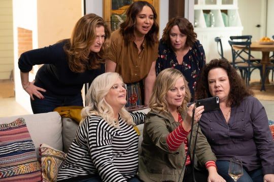 (Clockwise from top left) Ana Gasteyer, Maya Rudolph, Rachel Dratch, Emily Spivey, Amy Poehler and Paula Pell in Netflix's 'Wine Country.'