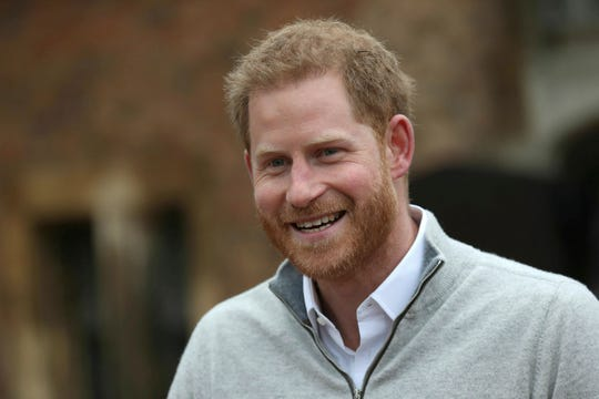 Britain's Prince Harry makes the announcement at Windsor Castle, Windsor, England, Monday, after his wife Meghan, the Duchess of Sussex, gave birth to their first child, a boy.