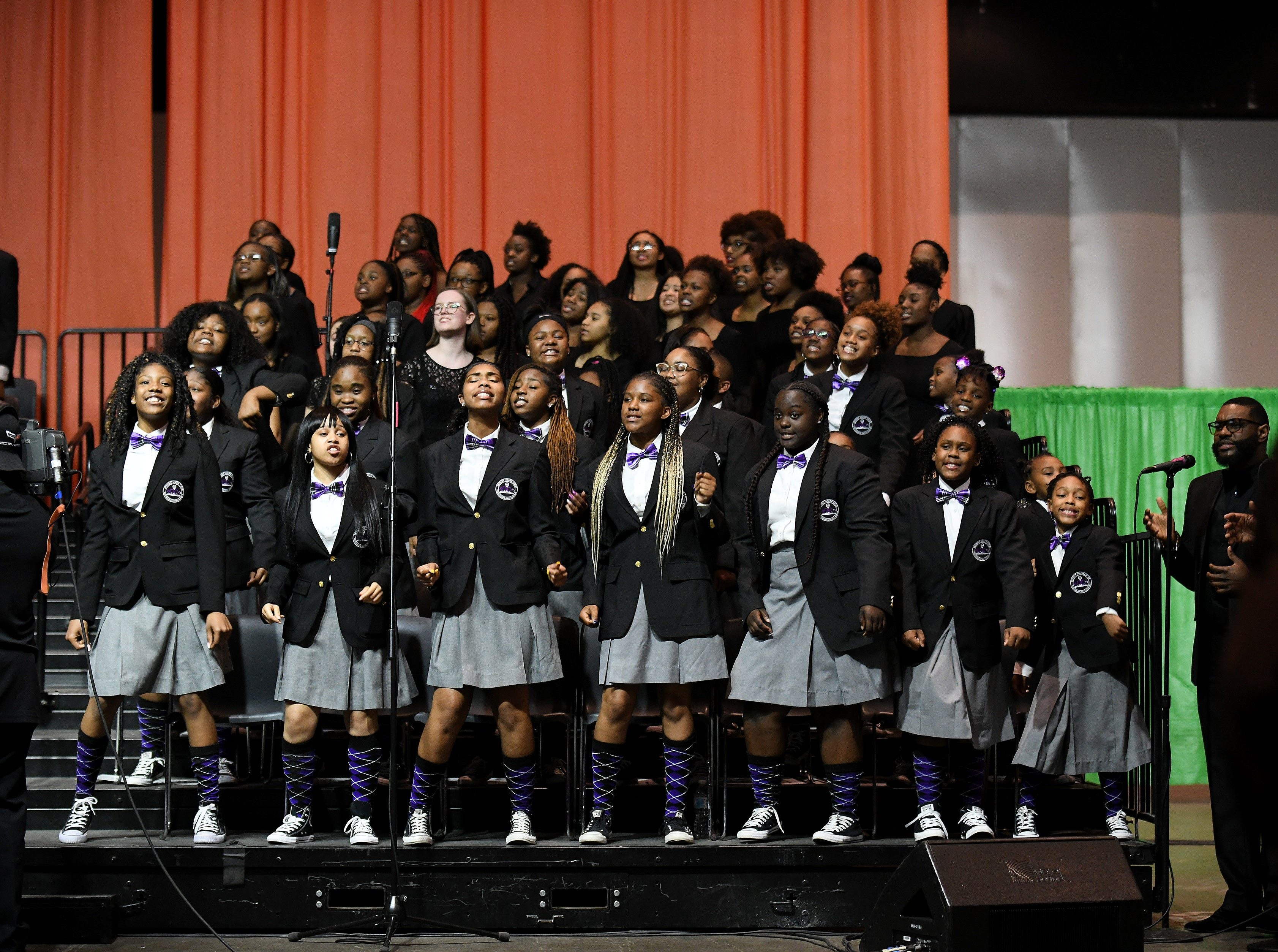 """Detroit school youth sing a special version of """"Lift Every Voice and Sing"""", celebrating its 100 years, at the NAACP 64th Annual Fight For Freedom Fund Dinner at Cobo Center."""