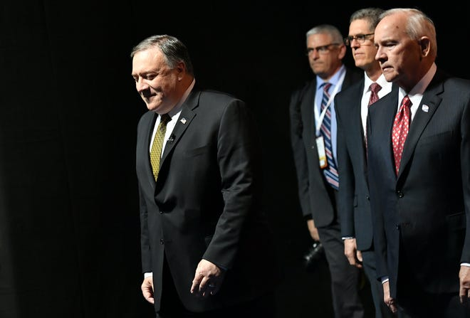 Secretary of State Mike Pompeo, left, arrives to speak on Arctic policy at the Lappi Areena in Rovaniemi, Finland, Monday, May 6, 2019.