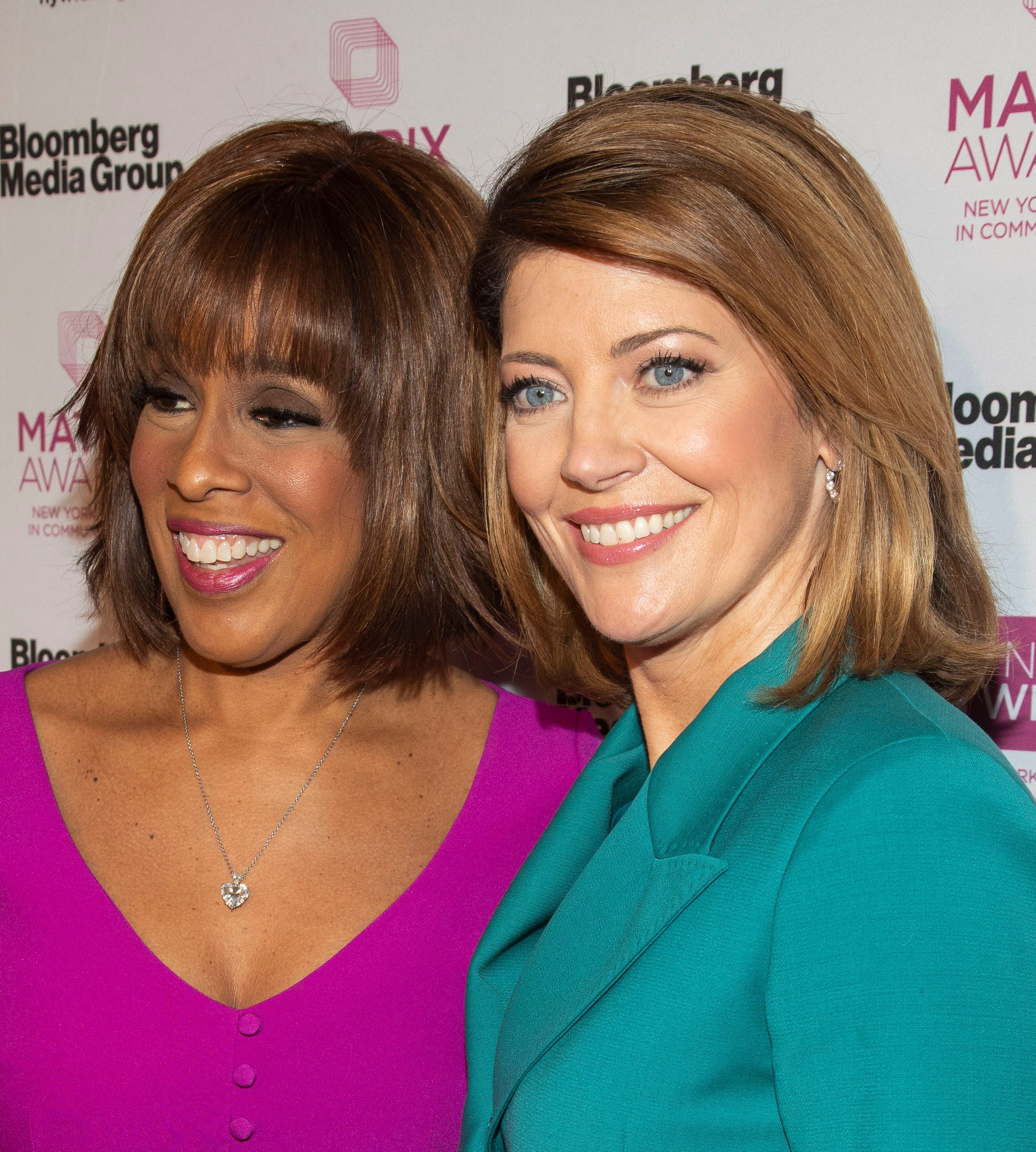 Gayle King, left, and Norah O'Donnell, right, attend the Matrix Awards at the Sheraton New York Times Square on Monday, May 6, 2019, in New York.