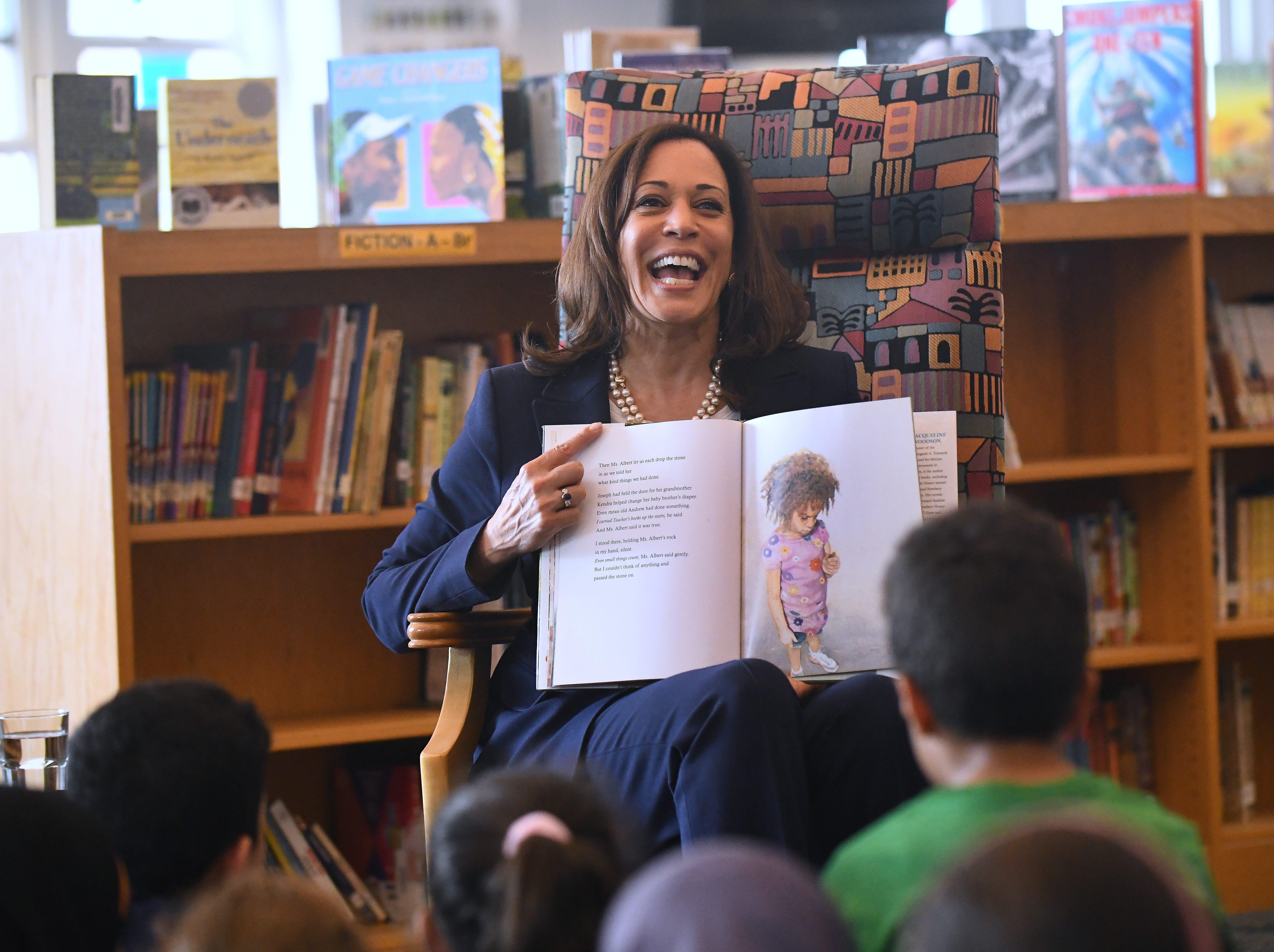 U.S. Senator Kamala Harris reads a story with 4th grade Dearborn elementary students at Miller Elementary School.