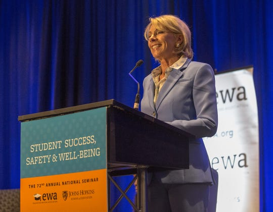 U.S. Education Secretary Betsy DeVos addresses questions at the Education Writers Association seminar in Baltimore on Monday.