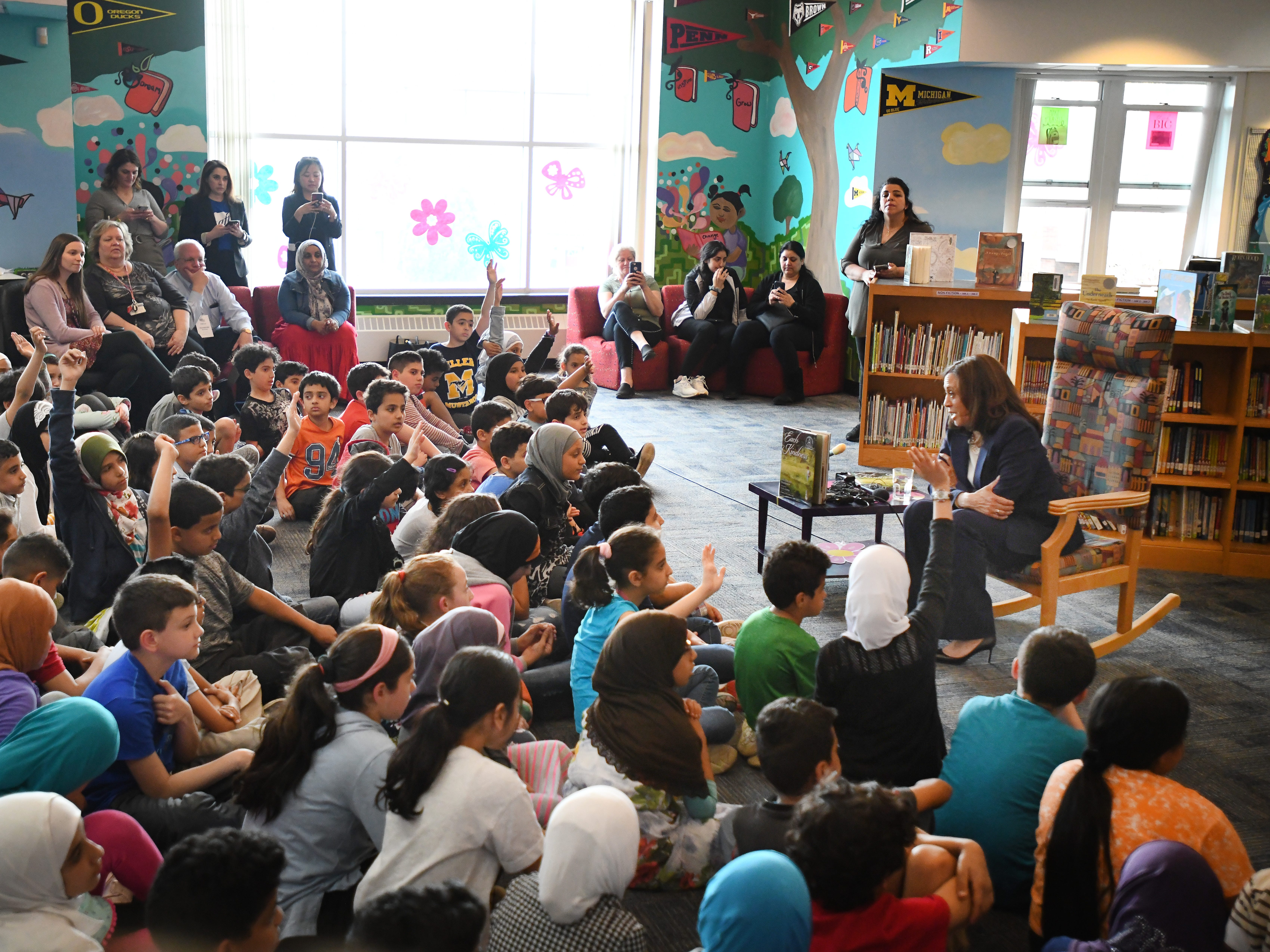 U.S. Senator Kamala Harris reads a story and chats with 4th grade Dearborn elementary students at Miller Elementary School.