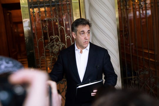 Michael Cohen, former attorney to President Donald Trump, holds a press conference outside his apartment building before departing to begin his prison term Monday, May 6, 2019, in New York.