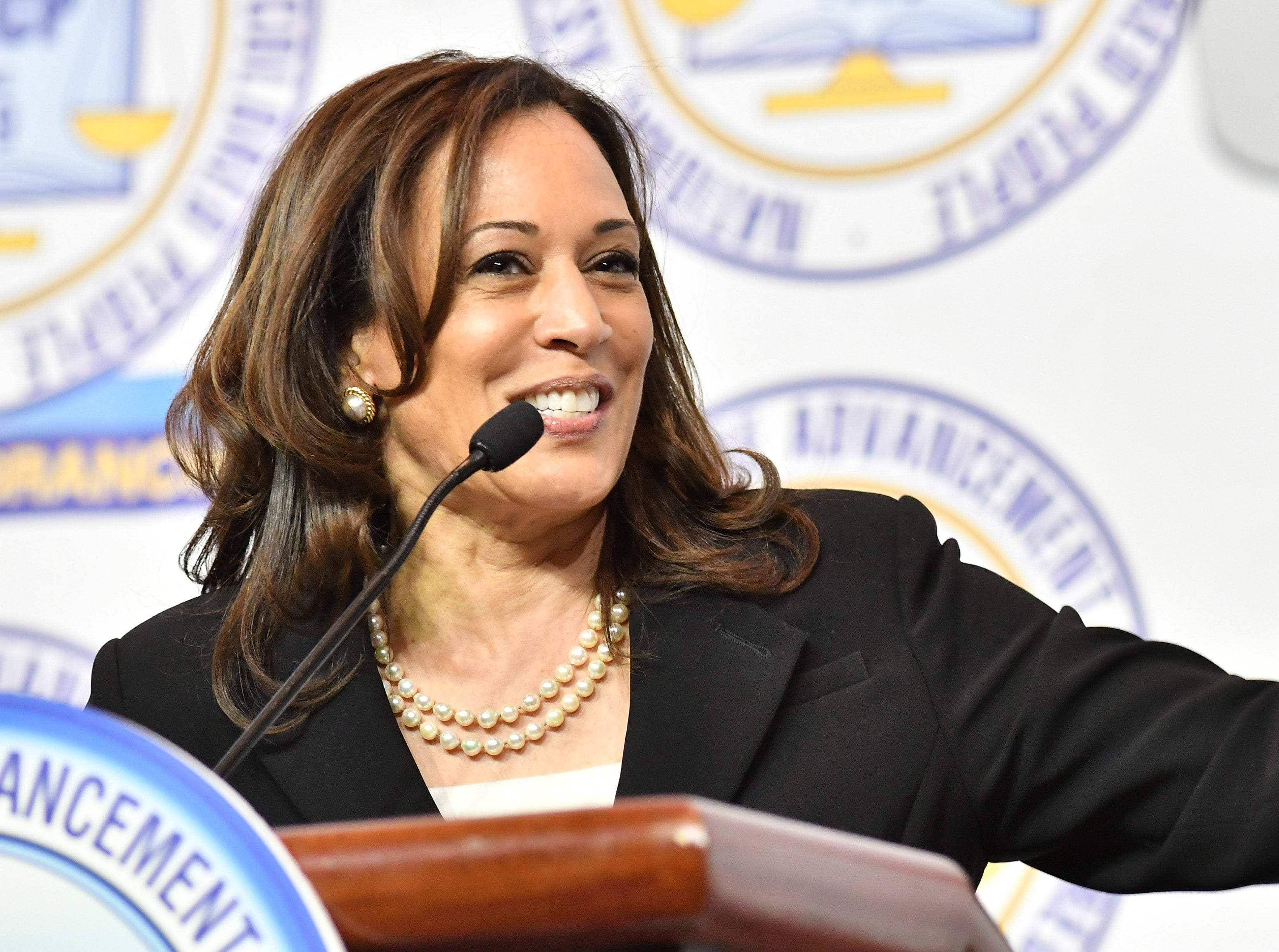U.S. Sen. Kamala Harris gives the keynote address at the NAACP 64th Annual Fight For Freedom Fund Dinner at Cobo Center in Detroit on May 5, 2019.