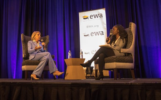Betsy DeVos, a Michigan native and one of the longest-serving members of the Trump administration, spoke to the 72nd gathering of the Education Writers Association on Monday.