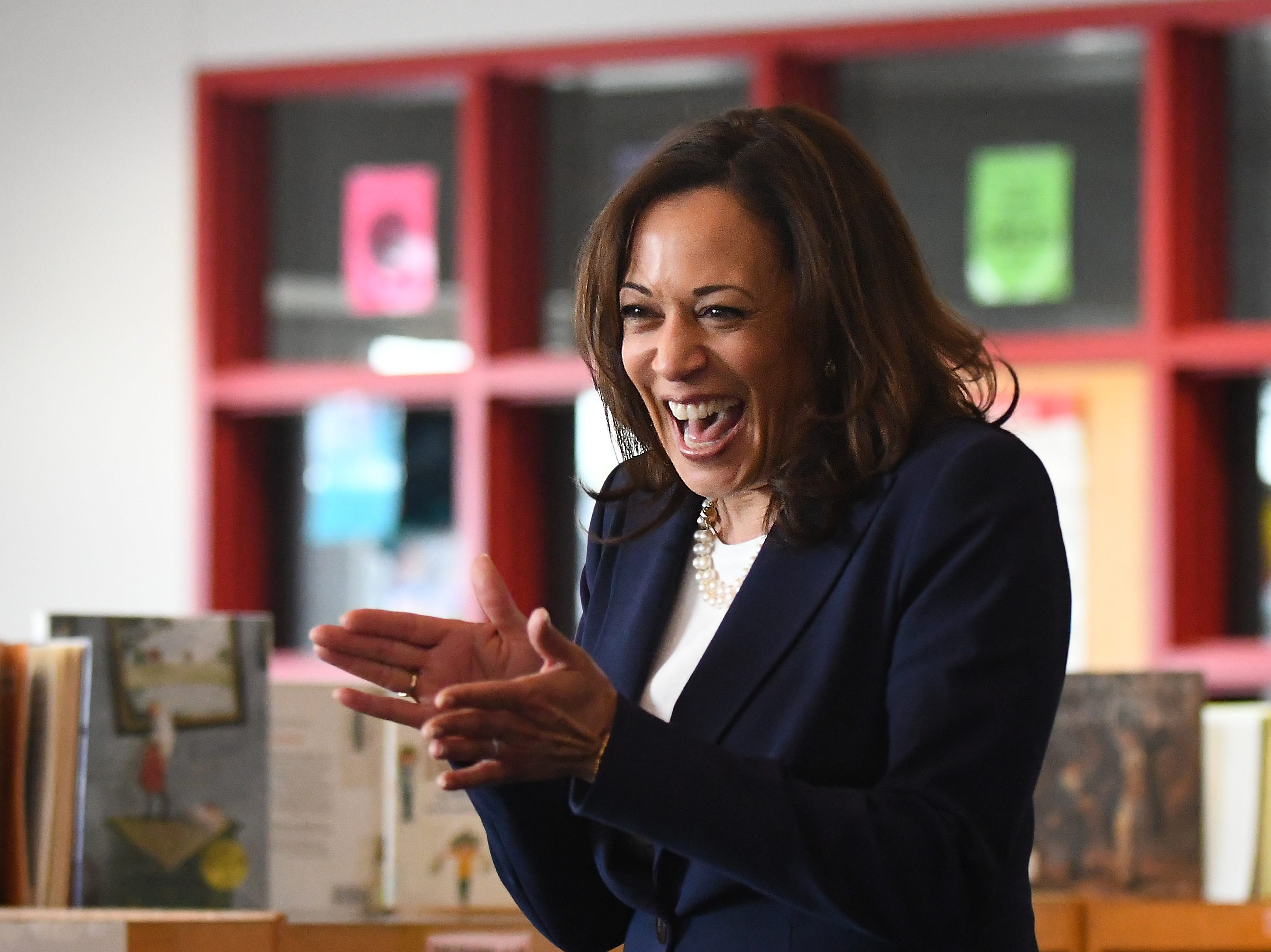 U.S. Senator Kamala Harris arrives to about a hundred cheering 4th graders at Miller Elementary School.