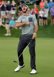 Max Homa celebrates after winning the Wells Fargo Championship on Sunday.