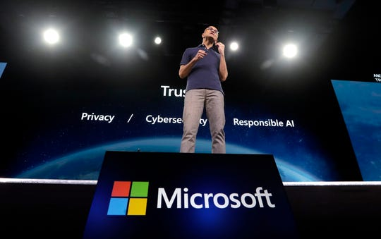 Microsoft CEO Satya Nadella delivers the keynote address at Build, the company's annual conference for software developers Monday, May 6, 2019, in Seattle.