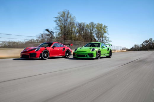 The Porsche 911 GT2 RS, left, and GT3 RS are the fastest, most expensive models of the 911 breed.