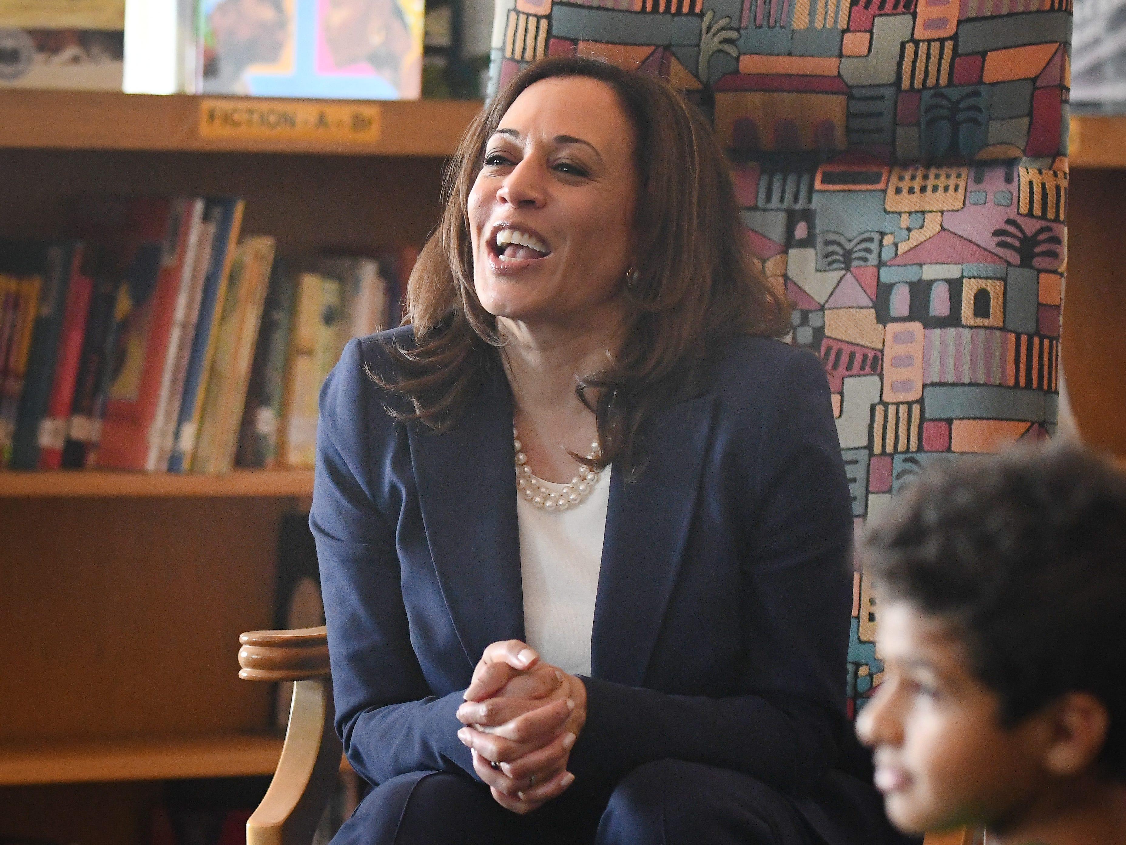 U.S. Senator Kamala Harris reads a story to 4th grade Dearborn elementary students at Miller Elementary School.