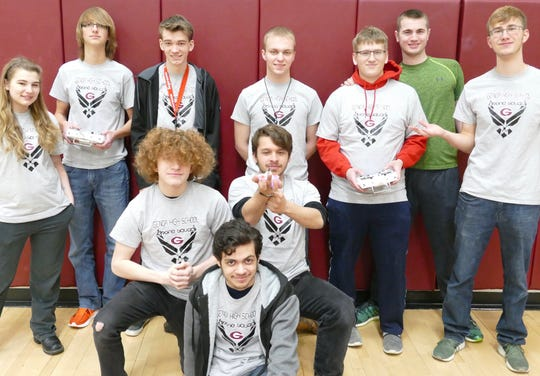 The Genoa Drone Team includes, in front Damyon Cruz and in the middle Blain Maluchnick and Nathan Uribes. At back are:  Savannah Wick, Nolan Weaver, Matt Robinson, Adam Vargo, Jacob Hart, Brandon Trumbull, and Nick Weaver.
