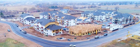 An aerial view of Timnath Trail at Riverbend east of I-25 and Harmony Road. The first apartments are expected to open in mid-June.