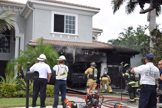 An afternoon fire was contained to the garage in a 4,300-square-foot San Carlos Park home Monday.