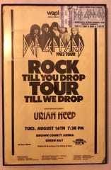 Jason Gutzman still has this poster and ticket stub from Def Leppard's 1983 tour stop at Brown County Veterans Memorial Arena. An advance ticket was $9.50.
