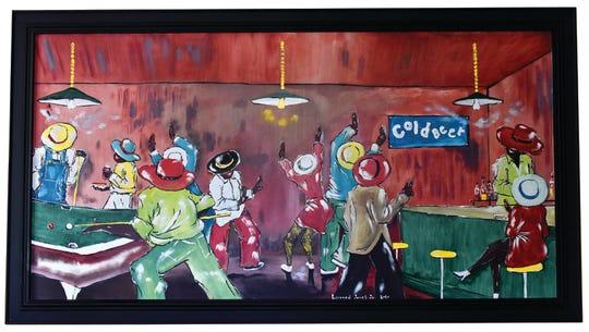 A painting by artist Leonard Jones Jr. hangs on a wall in the home of Jordan Lea.