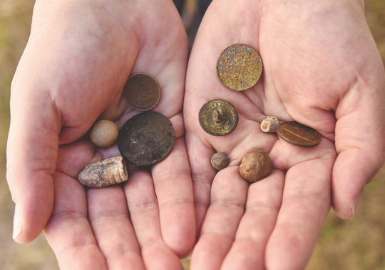 A few pieces of history Sofield discovered with a metal detector.