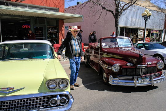 Russell Trainer with his 1958 Chevy Biscayne and 1947 Mercury Convertible