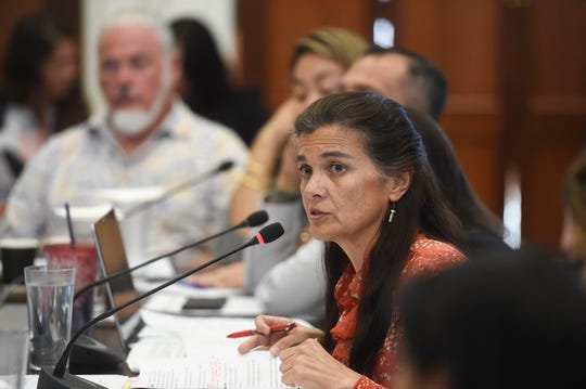 Sen. Therese Terlaje addresses concerns on sentencing laws, rehabilitation, and parole with officials from various agencies during a roundtable discussion at the Guam Congress Building in Hagåtña on May 6, 2019.