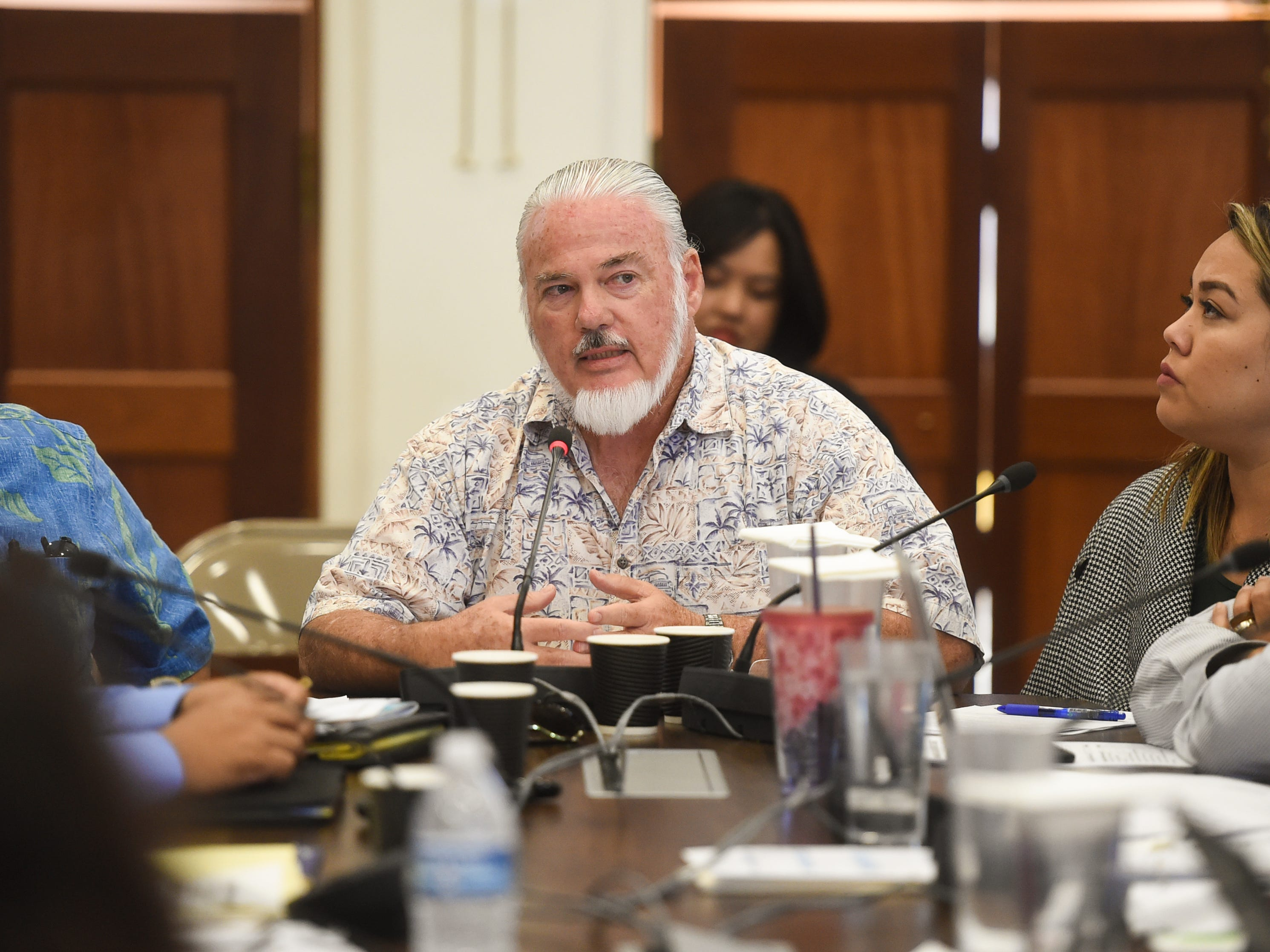 Basil O'Mallan, Office of the Attorney General chief prosecutor, comments during a roundtable discussion at the Guam Congress Building in Hagåtña on May 6, 2019.