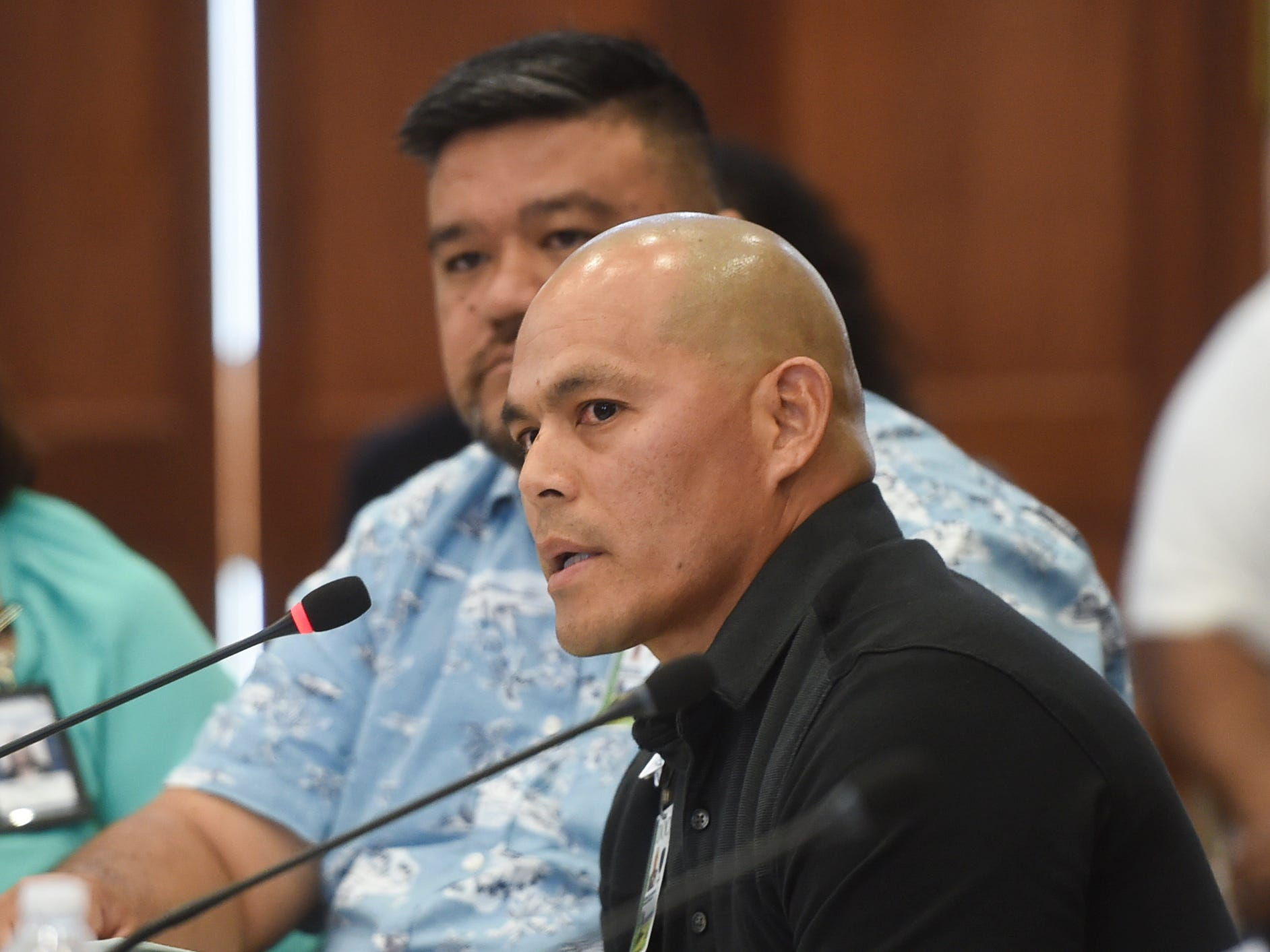 Ron Santos, a Guam Department of Corrections parole officer, answers questions during a roundtable discussion on sentencing laws, rehabilitation, and parole at the Guam Congress Building in Hagåtña on May 6, 2019.