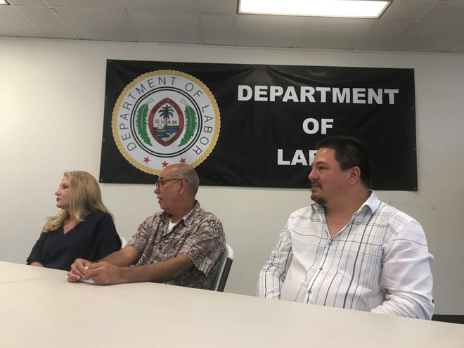 Guam Department of Labor director, David Dell'Isola, middle, department administrator, Greg Massey, and Practical Employee Solutions president and CEO Veronica Birkenstock discuss utilizing H-2B workers from Mexico to answer Guam's labor issue, in light of the ban on workers from the Philippines.