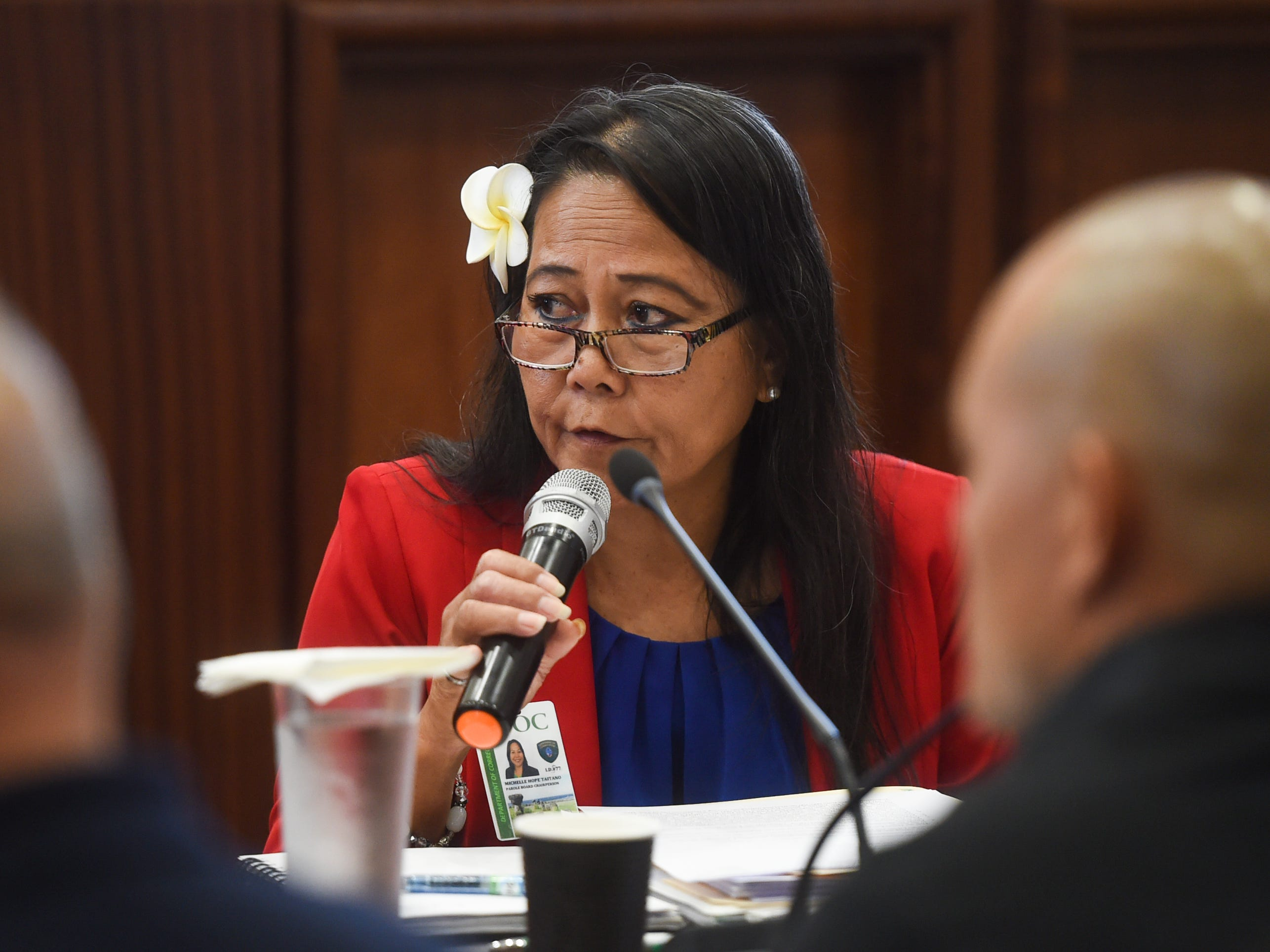 MiChelle Hope Taitano, the Guam Parole Board chairwoman, answers questions by Sen. Therese Terlaje during a roundtable discussion on sentencing laws, rehabilitation, and parole at the Guam Congress Building in Hagåtña on May 6, 2019.