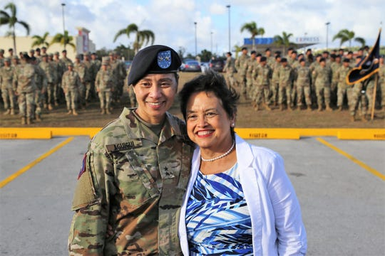 In this file photo, Maj. Gen. Esther J.C. Aguigui, adjutant general of the Guam National Guard, stands next to Gov. Lou Leon Guerrero.