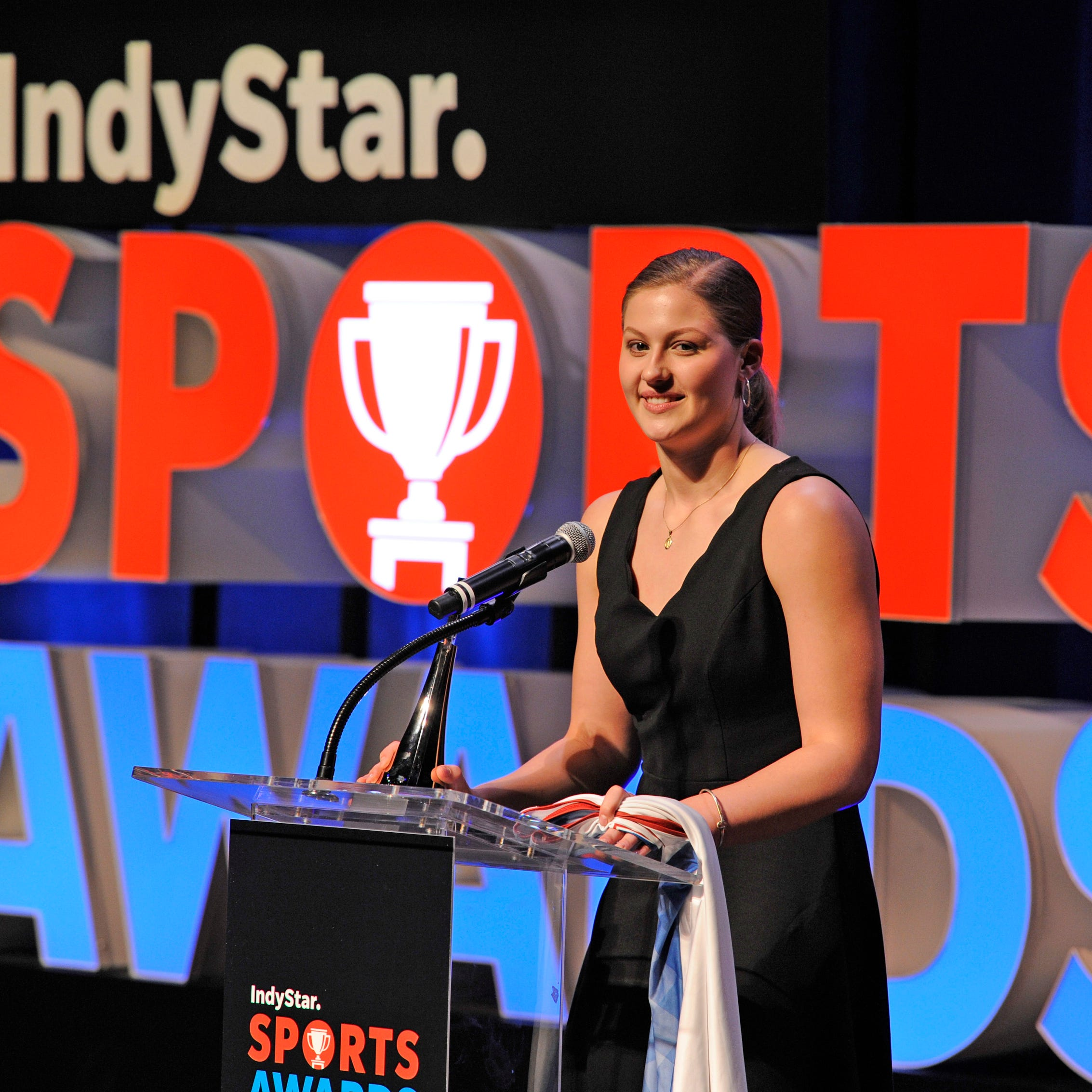 Jorie Allen of Bedford North Lawrence was named 2019 Indiana Miss Basketball during the Indiana Sports Awards at Clowes Hall on the campus of Butler University, Sunday, May 5, 2019.