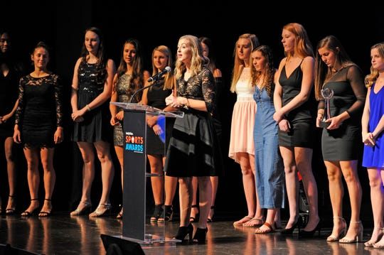 Yorktown High School volleyball team accepts award for Volleyball Team of the Year during the Indiana Sports Awards at Clowes Hall on the campus of Butler University, Sunday, May 5, 2019.