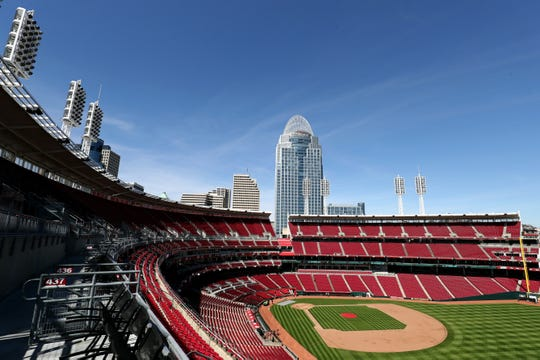 Mar 27, 2019; Cincinnati, OH, USA; A view of the ballpark during a preseason tour in honor of the 150th anniversary of the Cincinnati Reds at Great American Ball Park. Mandatory Credit: Aaron Doster-USA TODAY Sports
