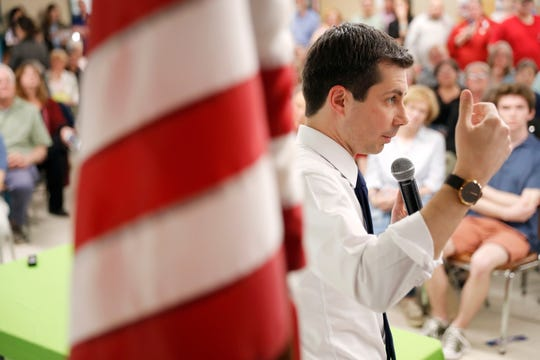 2020 Democratic presidential candidate South Bend Mayor Pete Buttigieg speaks during a town hall meeting on April 16, 2019, in Fort Dodge, Iowa.