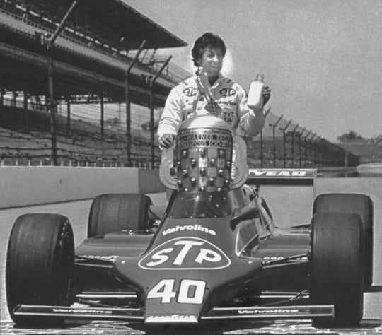 Mario Andretti posed for his winner's portrait after being named the 1981 Indianapolis 500 victor. He later had the win stripped.