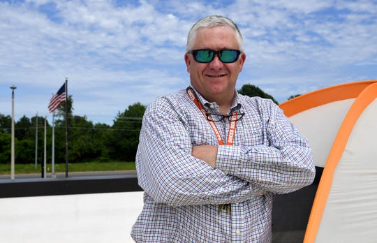 South Gibson County Elementary School principal Billy Carey stands next to a tent on the roof of the school, Monday, May 6. Carey and Pruett told students if they reached their fund raising goal for St. Jude, they would sleep on the roof for one night.