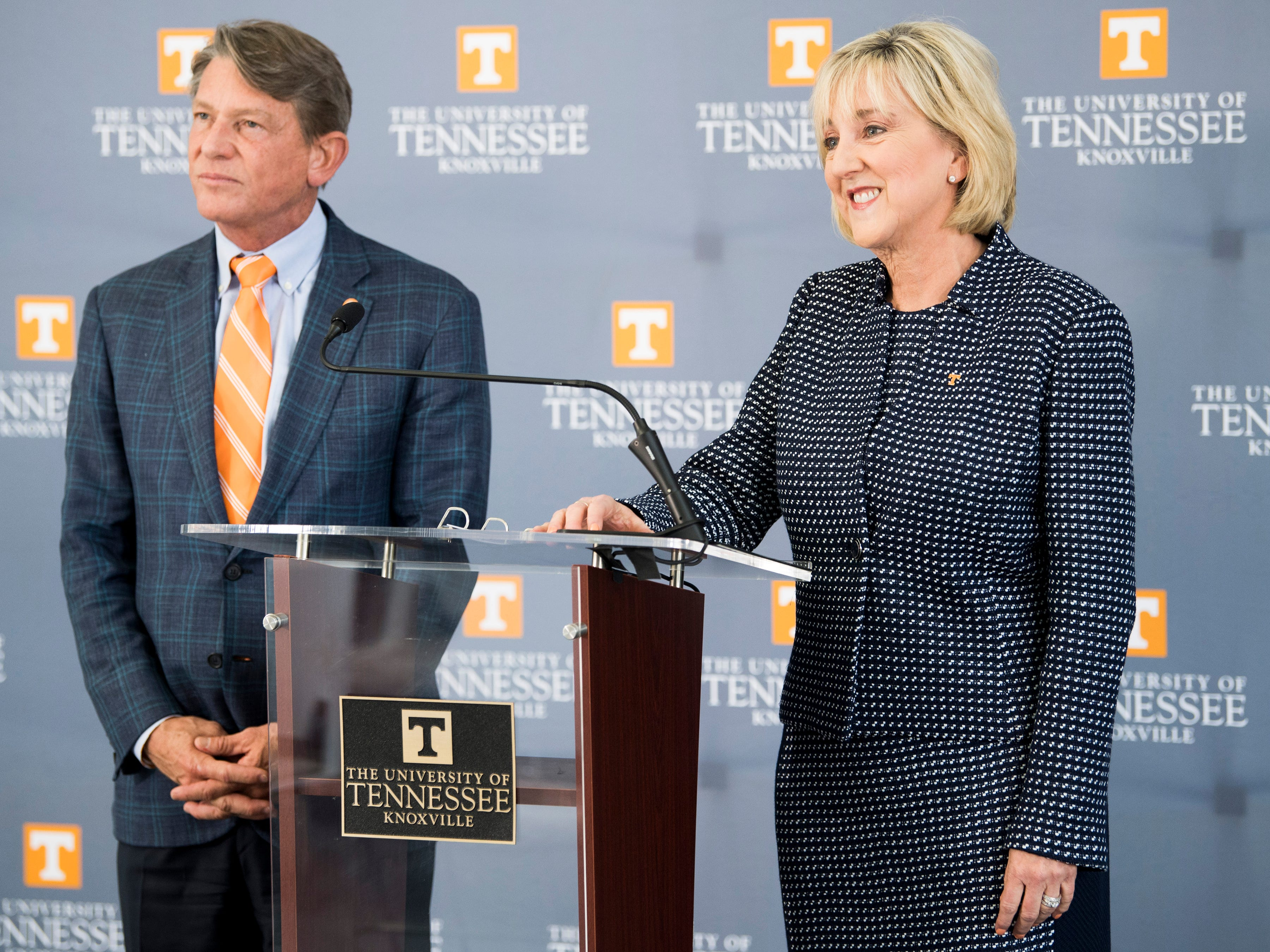 """""""We connected from day one,"""" Randy Boyd told Knox News about his relationship with Donde Plowman. Boyd and Plowman appear in person together frequently, a visible indication of the strong relationship between the University of Tennessee System and its flagship campus. Boyd introduced Plowman as the new chancellor at the Knoxville campus' Student Union on May 6, 2019."""