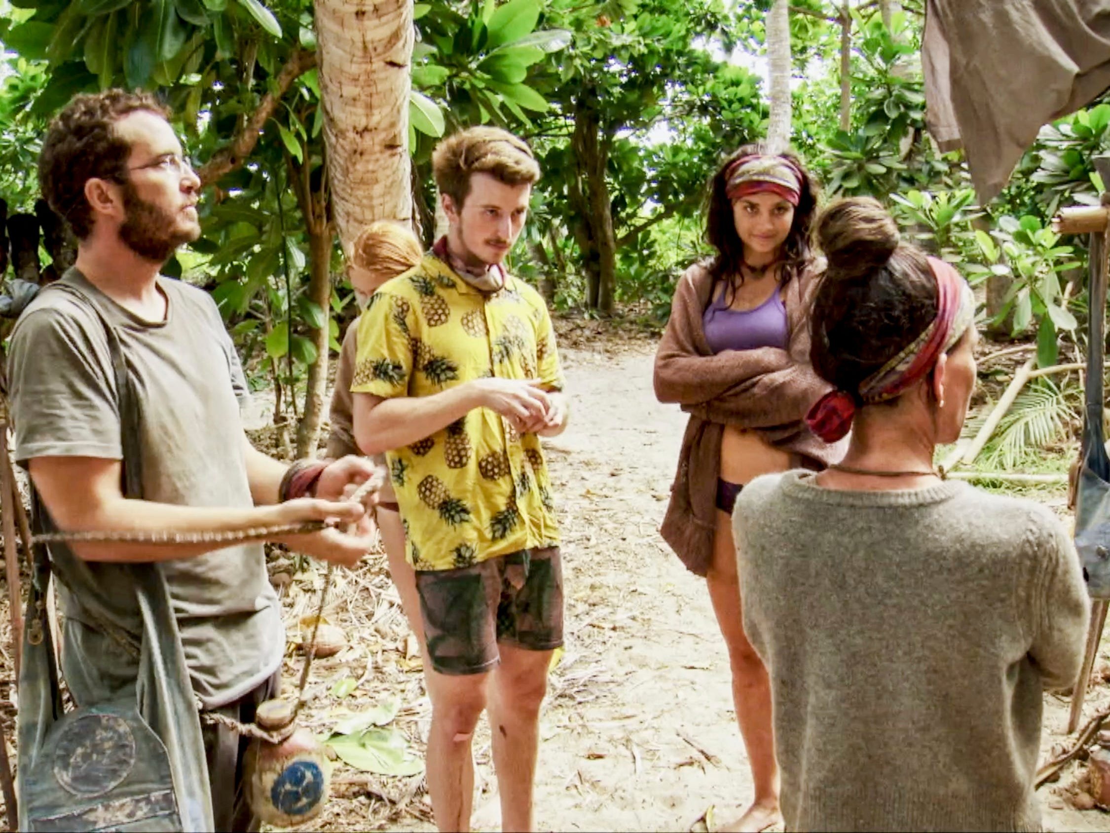 "Rick Devens, Gavin Whitson and Lauren O'Connell on ""Survivor: Edge of Extinction."""