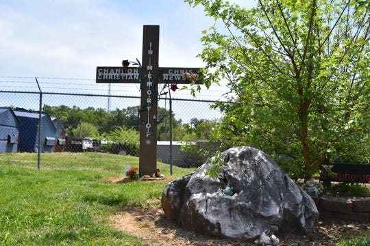 A memorial marks the site on Chipman Street in Knoxville where Channon Christian and Christopher Newsom were killed in 2007.