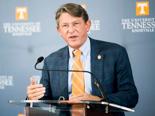 University of Tennessee interim President Randy Boyd speaks during a news conference introducing Donde Plowman as chancellor at UT's Student Union on May 6, 2019.