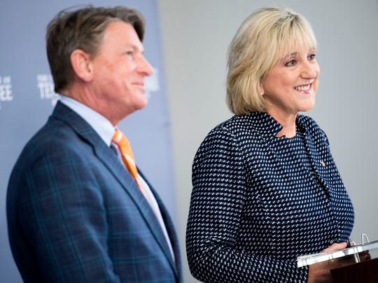 Donde Plowman, right, with University of Tennessee interim president Randy Boyd, left, during a press conference introducing Plowman as chancellor of the University of Tennessee held at UT's Student Union on Monday, May 6, 2019.