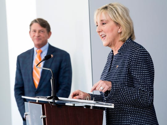 Donde Plowman, right, speaks as University of Tennessee interim president Randy Boyd, left, watches on during a press conference introducing Plowman as chancellor of the University of Tennessee held at UT's Student Union on Monday, May 6, 2019.