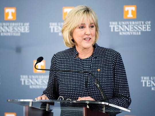 Donde Plowman speaks during a press conference introducing Plowman as chancellor of the University of Tennessee held at UT's Student Union on Monday, May 6, 2019.