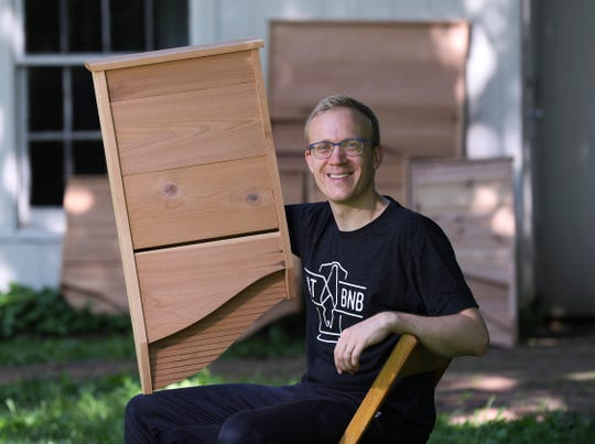 Christopher Rannefors is co-founder of BatBnB, a company that makes custom bat houses designed to attract bats to roost and control the insect population in the area. May 6, 2019