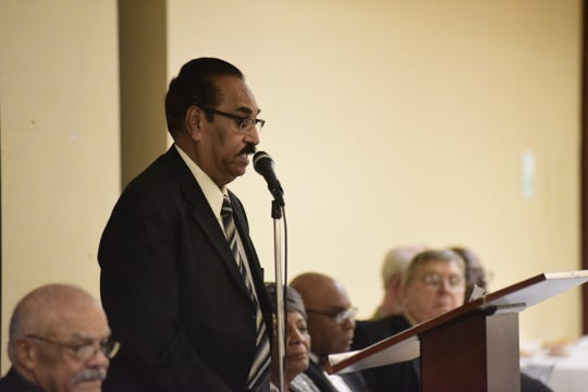 S.M. Saleem, Ph.D., speaks on the importance of love Saturday during an NAACP banquet in Mansfield.