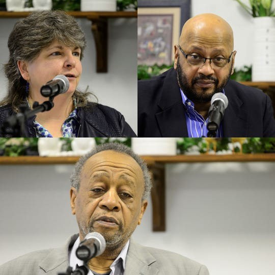 Jean Taddie (top left), Doug Caldwell, and Easther McNeil (bottom), are vying for Mansfield City Council's sixth ward seat in the primary election on May 7.